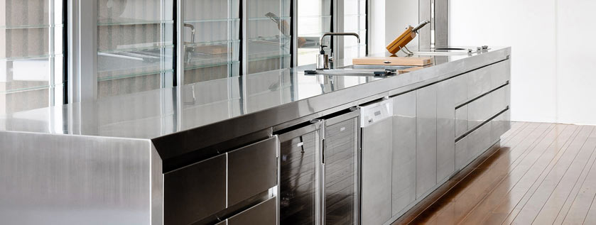 Stainless steel kitchen bench top and cabinets
