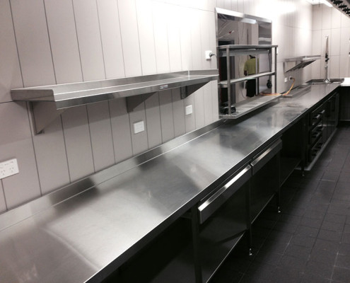 Subiaco Hotel's commercial kitchen with stainless steel benches