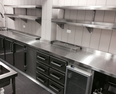 Subiaco Hotel's commercial kitchen - stainless steel shelving, benches and storage drawers