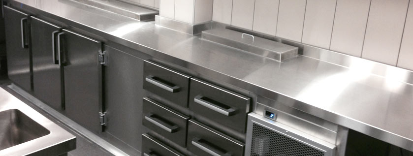 Close up of commercial kitchen stainless steel bench top