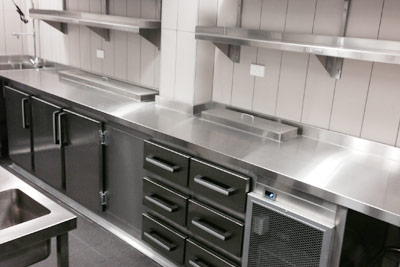 A commercial kitchen manufactured & installed by Metro Steel Services