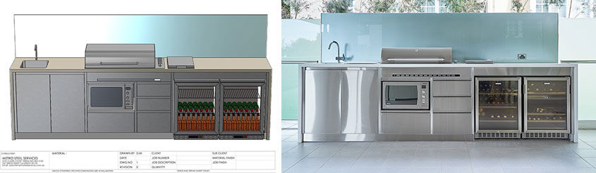 Example of a rendered drawing of an outdoor kitchen designed by Metro Steel Services