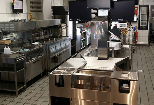 Stainless steel commercial kitchen manufactured for McDonalds